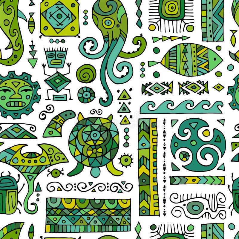 Ornement fait main ethnique pour votre conception Style polynésien, modèle sans couture illustration stock
