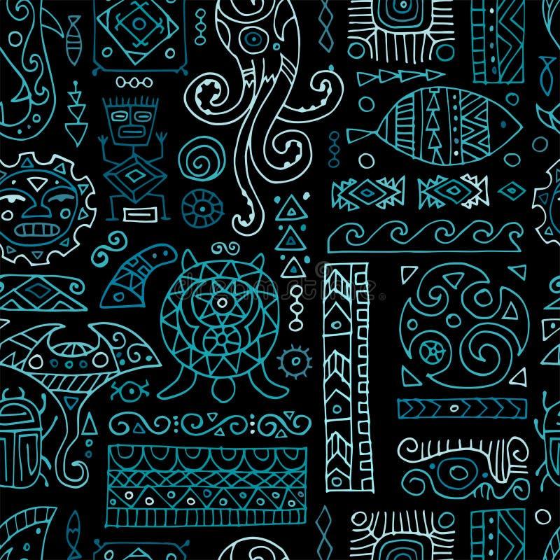 Ornement fait main ethnique pour votre conception Style polynésien, modèle sans couture illustration libre de droits