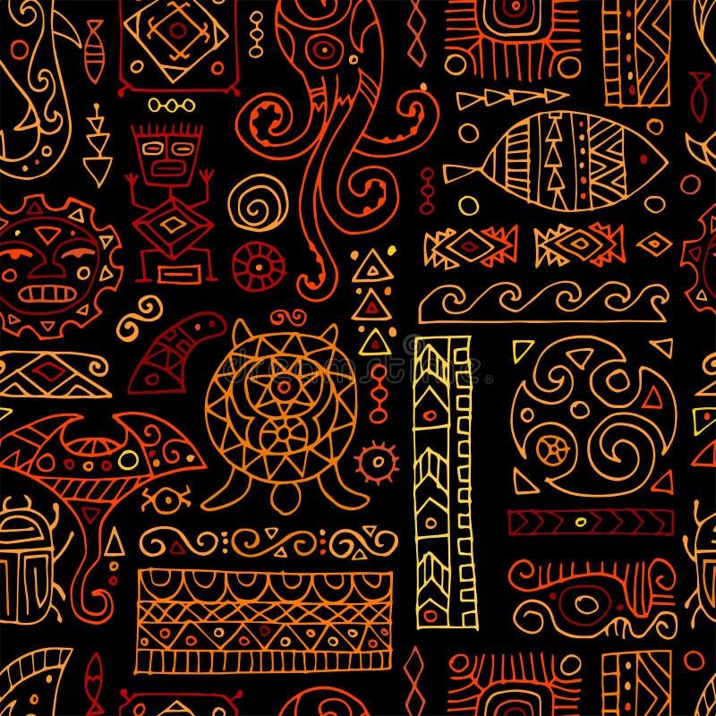 Ornement fait main ethnique pour votre conception Style polynésien, modèle sans couture illustration de vecteur
