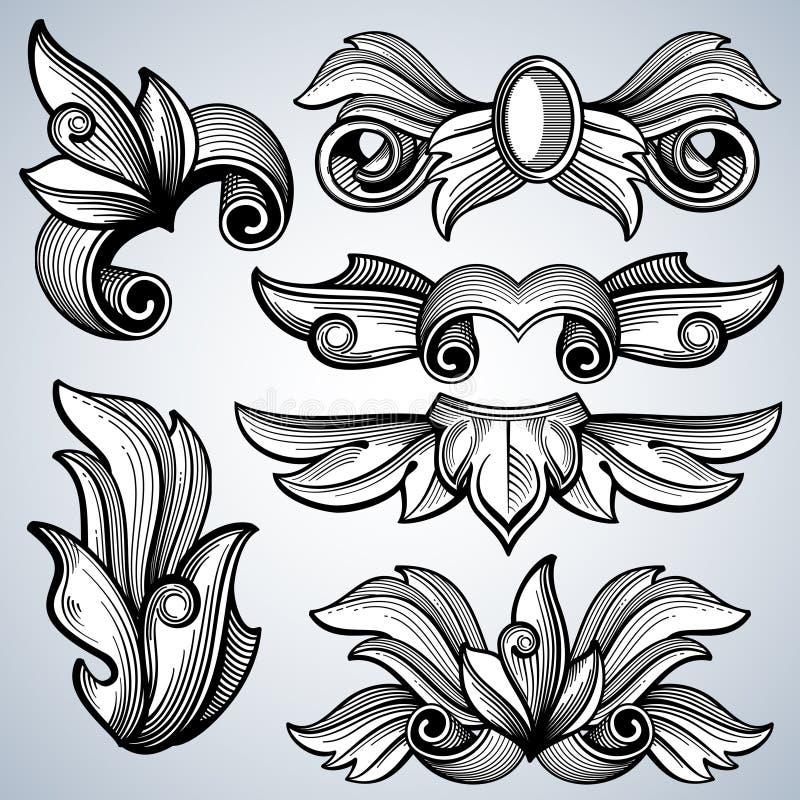 Ornement fleuri décoratif de rouleau de gravure, feuilles d'ensemble baroque de vecteur de frontière de cadre de victorian illustration de vecteur