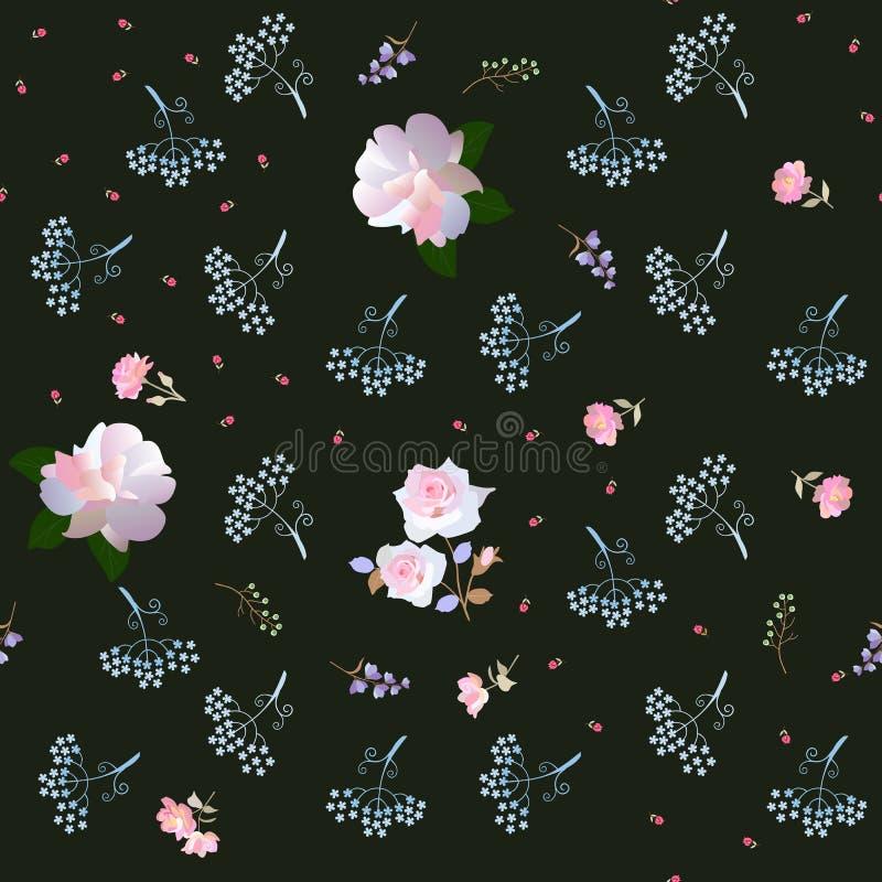 Ornement floral écervelé avec de grandes roses rose-clair et petit tulipes, parapluie et fleurs de cloche d'isolement sur le fond illustration stock