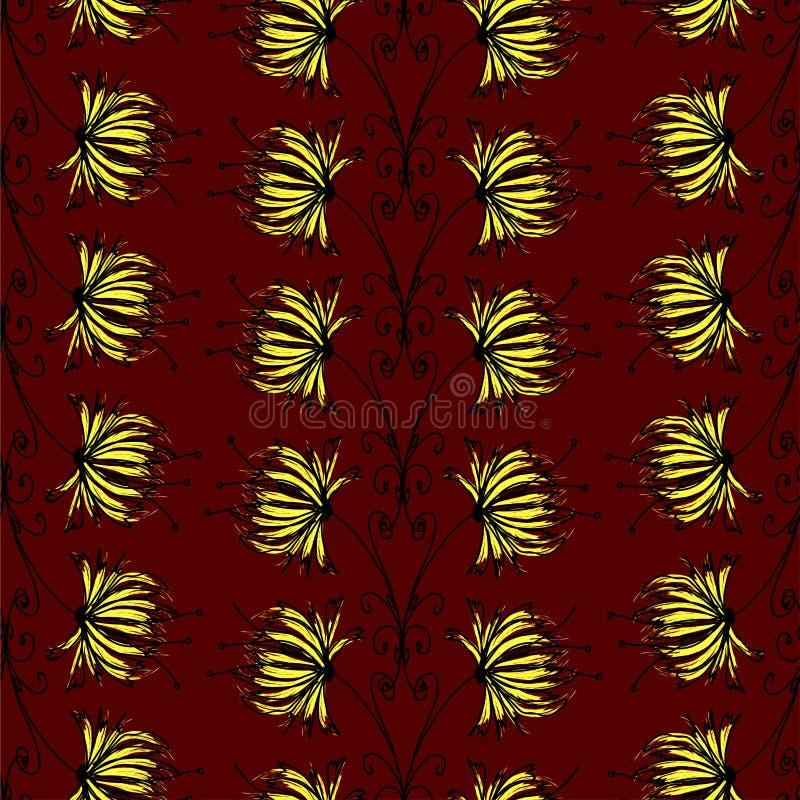 Ornement floral abstrait de couleurs noires et d'or au-dessus d'une couleur rouge foncé illustration stock