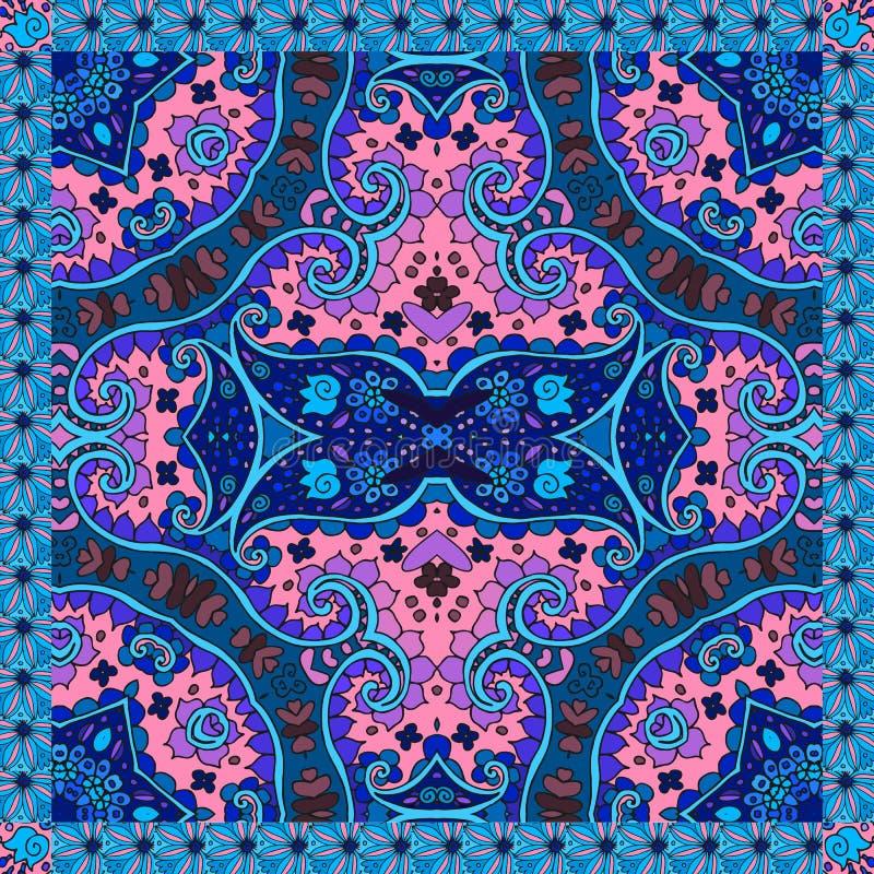 Ornement floral décoratif Motifs ethniques Peut être employé pour des cartes, copies de bandana illustration stock