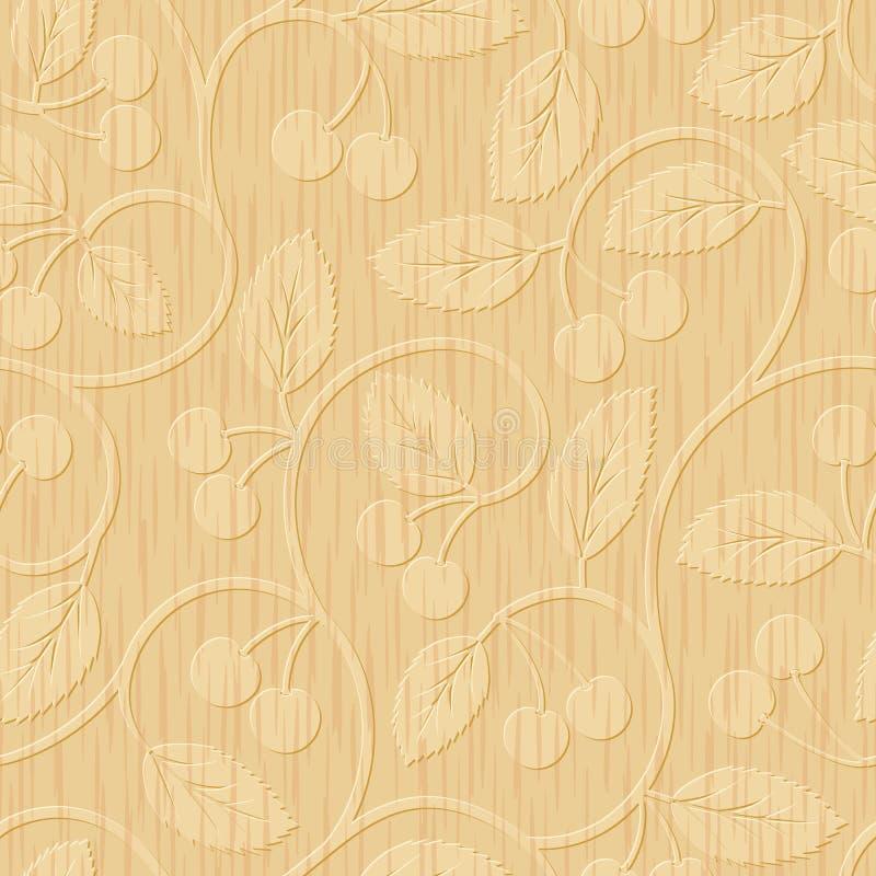 Ornement floral découpé par bois sans couture de cerise illustration stock