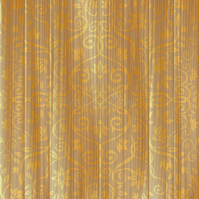 Ornement floral d'or sur le panneau en bois illustration libre de droits