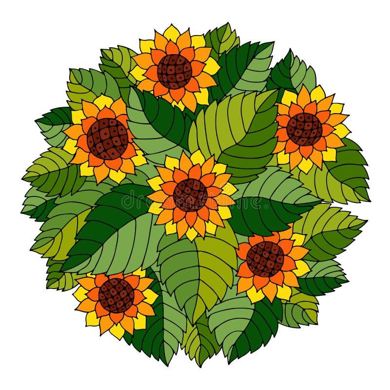 Ornement floral de cercle coloré avec des tournesols et des feuilles en GY illustration de vecteur