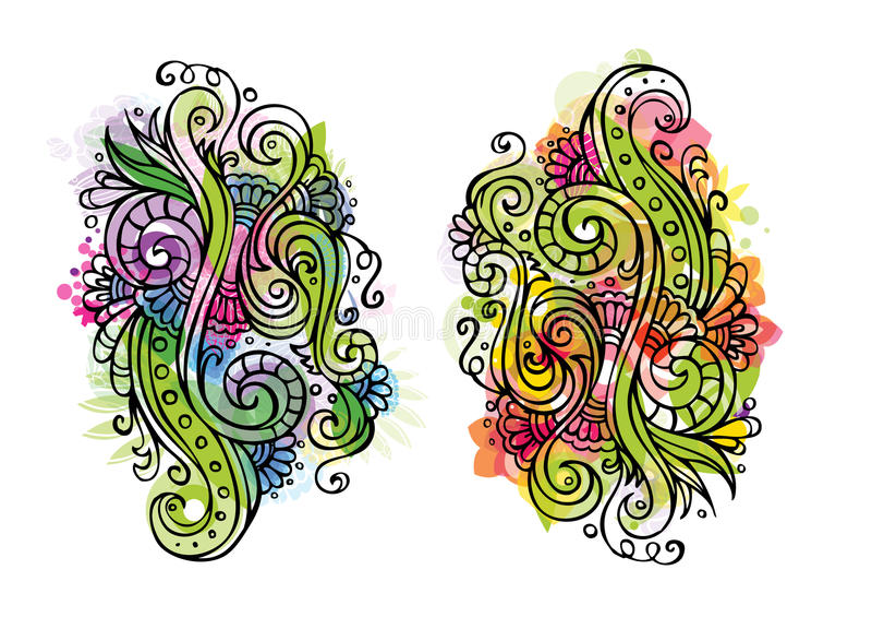 Ornement floral de conte de fées de vecteur d'imagination illustration stock