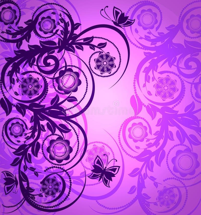 Ornement floral pourpré avec le guindineau illustration de vecteur
