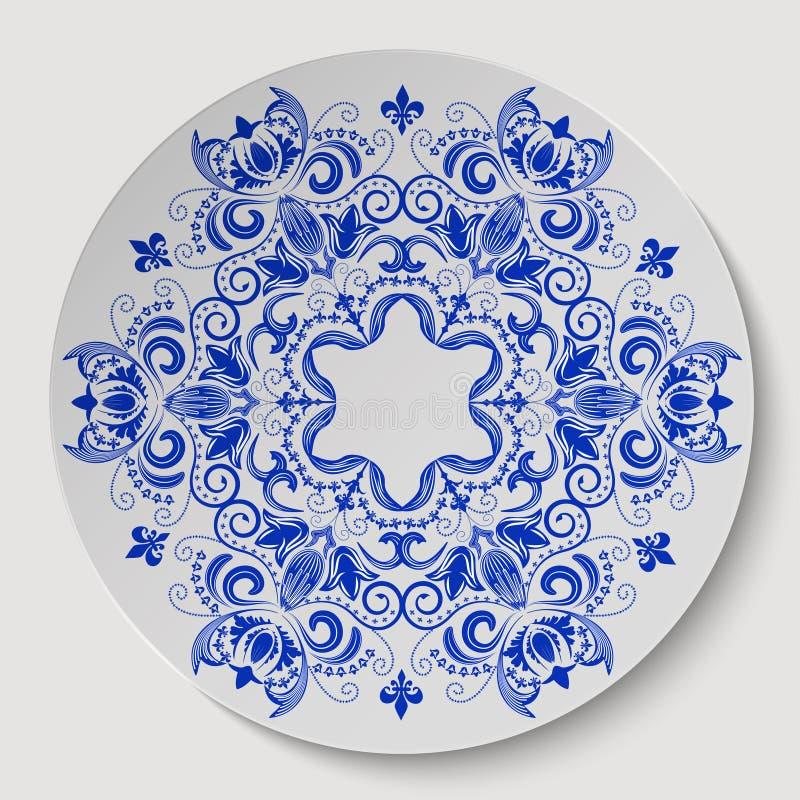Ornement floral rond bleu Modèle appliqué au plat en céramique illustration libre de droits