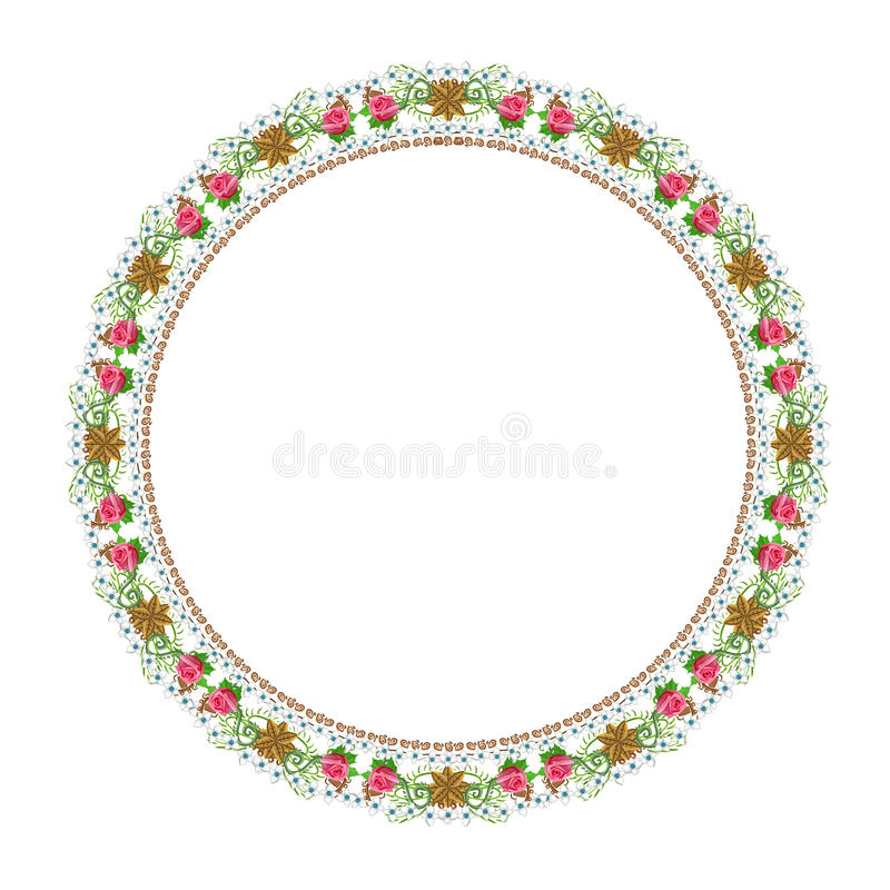 Ornement floral rond sur un fond blanc images stock