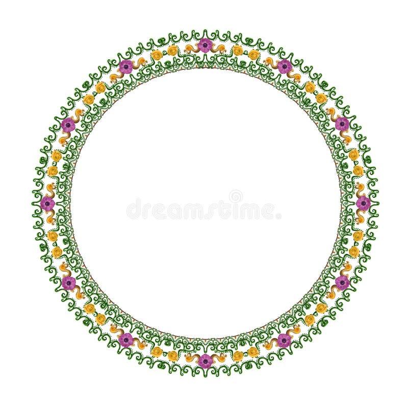 Ornement floral rond sur un fond blanc image libre de droits