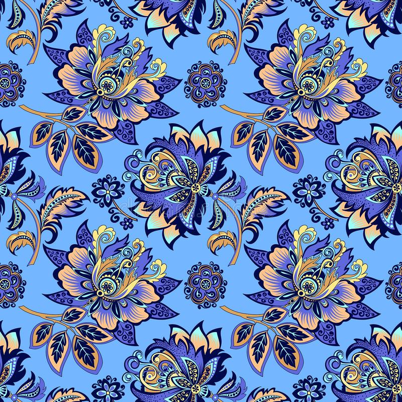 Ornement floral sans couture sur un fond bleu illustration stock