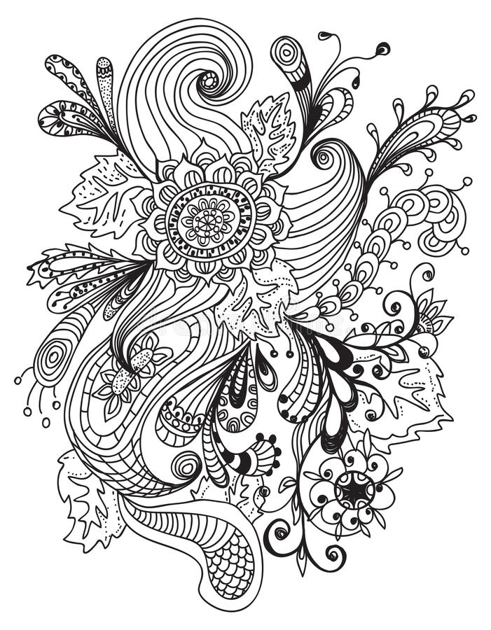 Ornement floral tiré par la main romantique illustration stock