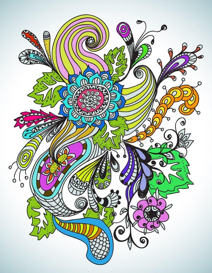 Ornement floral tiré par la main romantique illustration de vecteur