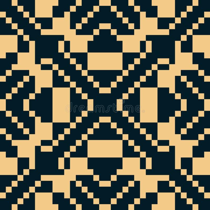 Ornement folklorique traditionnel g?om?trique de vecteur Configuration sans joint noire et jaune illustration libre de droits