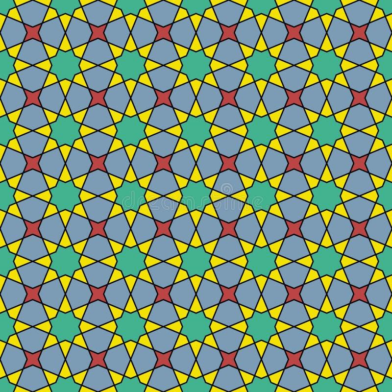 Ornement géométrique arabe sans couture en couleurs type arabe illustration libre de droits