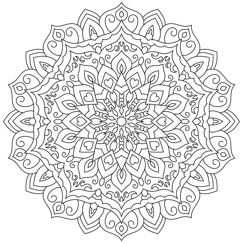 Ornement géométrique circulaire Mandala rond d'ensemble pour la page de coloration illustration de vecteur