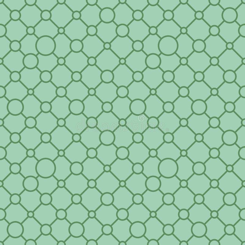 Ornement géométrique classique simple avec les lignes et les cercles vert pâles Modèle sans couture de vecteur pour le textile, c illustration libre de droits
