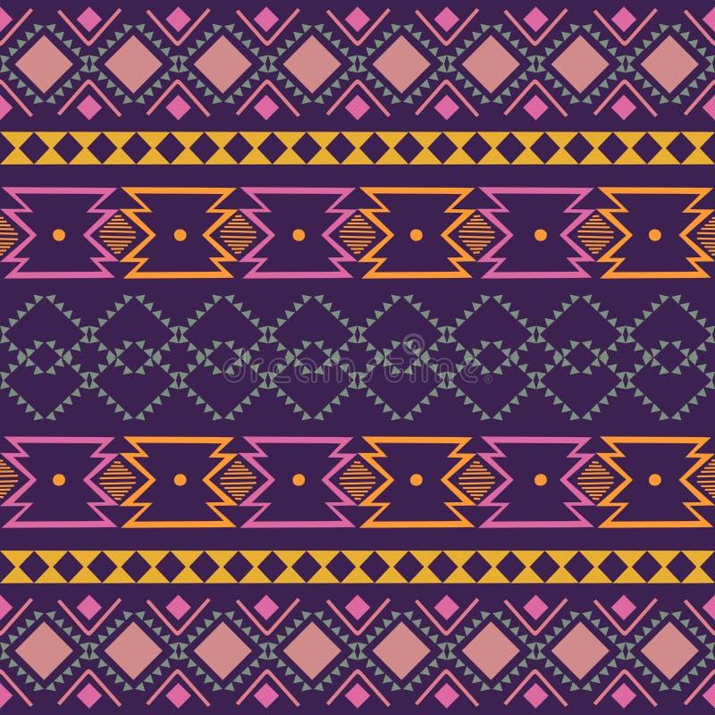 Ornement géométrique de folklore d'Ikat Texture ethnique tribale de vecteur Modèle rayé sans couture dans le style aztèque Figure images libres de droits