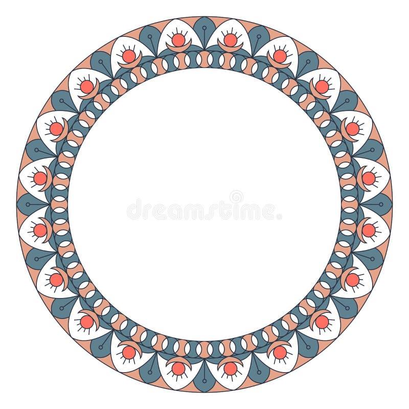Ornement géométrique de folklore Frontière circulaire dans le style de cru L'illustration est faite dans des couleurs à la mode d illustration de vecteur
