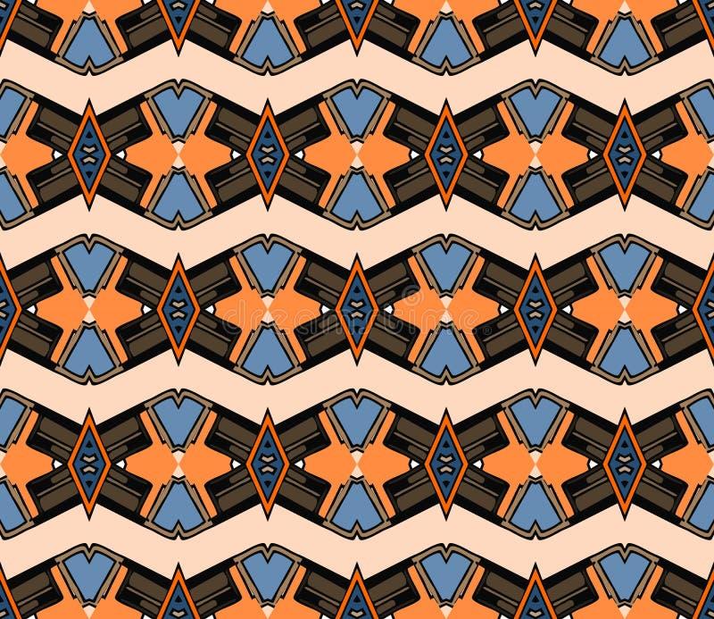 Ornement géométrique sans couture avec des elemets de losange et de zigzag Mod?le de tapisserie illustration de vecteur