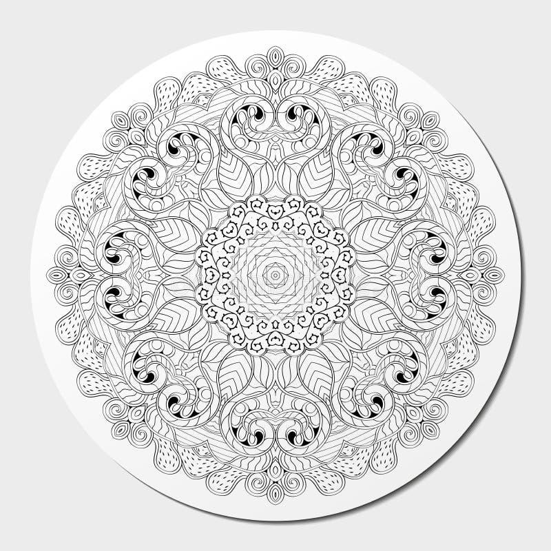 Ornement incurvé par mehndi de filigrane Motif ethnique, texture harmonieuse binaire monochrome de griffonnage Rebecca 36 Vecteur illustration de vecteur