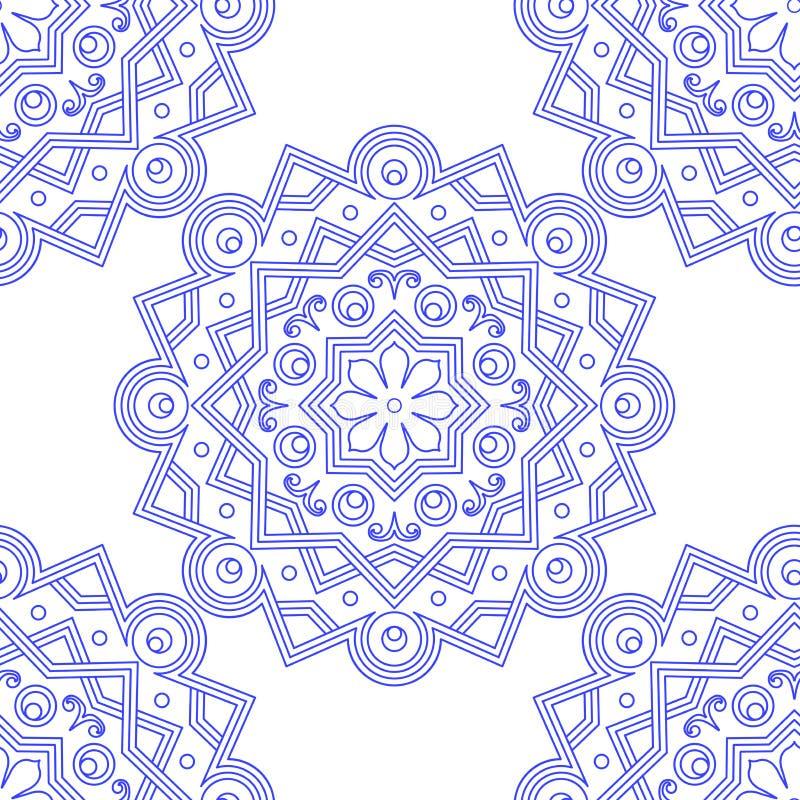 Ornement indien bleu de vintage Modèle sans couture de mandala bleu Illustration de vecteur illustration libre de droits
