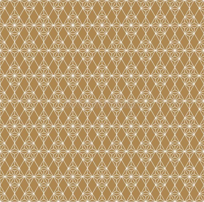 Ornement japonais traditionnel sans couture Fond d'or de couleur Lignes blanches illustration libre de droits