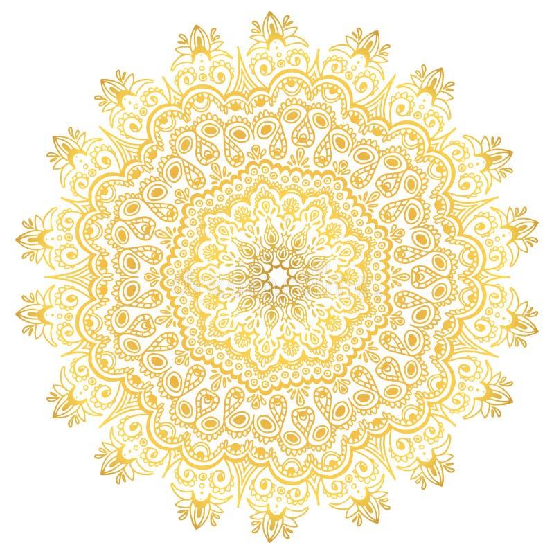 Ornement jaune de mandala de gradient Décoration ethnique d'isolement par vecteur illustration de vecteur