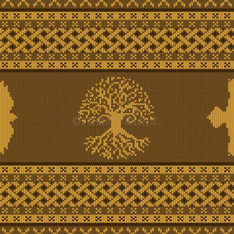 Ornement national celtique sans couture tricoté d'or avec l'arbre et le corbeau du monde illustration de vecteur