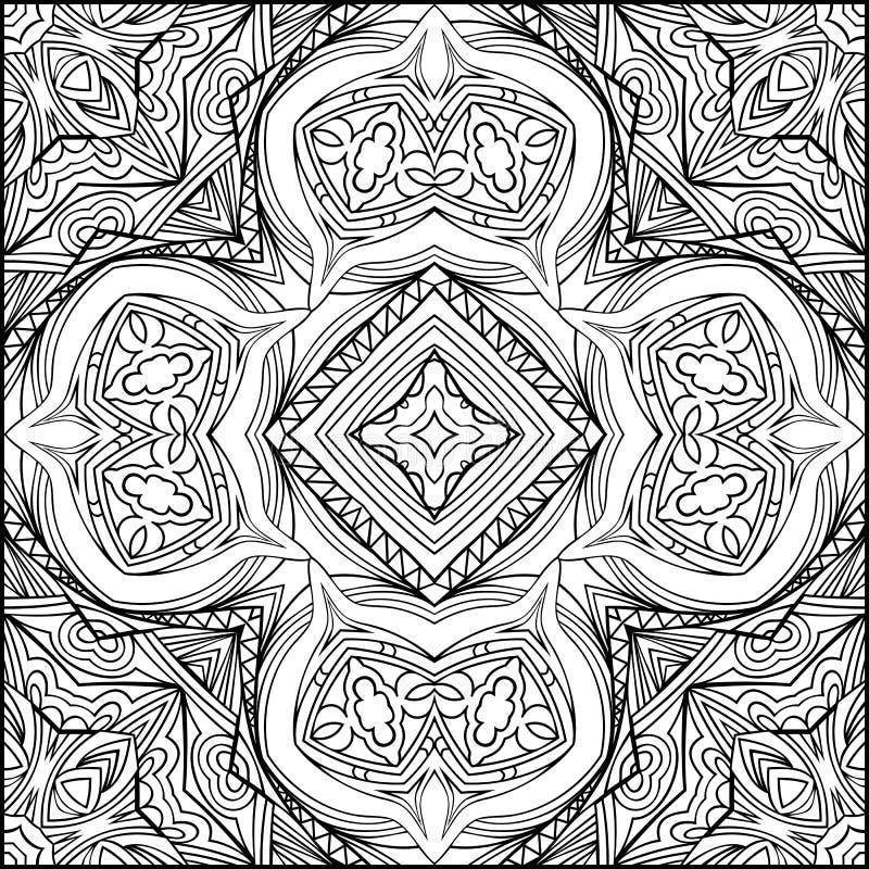 Ornement noir et blanc croisé indien abstrait en Zen Style illustration de vecteur