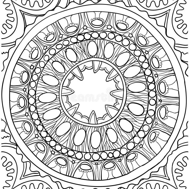 Ornement noir et blanc Mandala floral configuration tirée de main illustration de vecteur