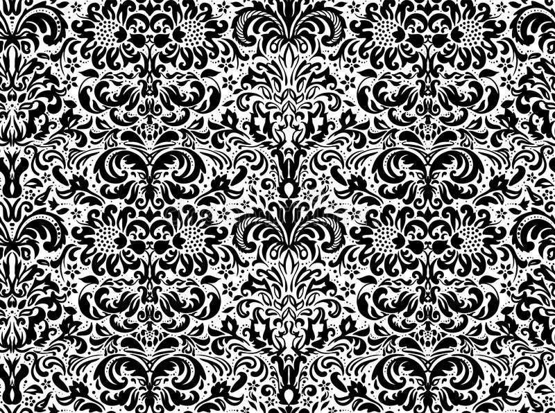 Ornement noir sans couture sur le fond blanc, papier peint Ornement floral sur le fond illustration libre de droits