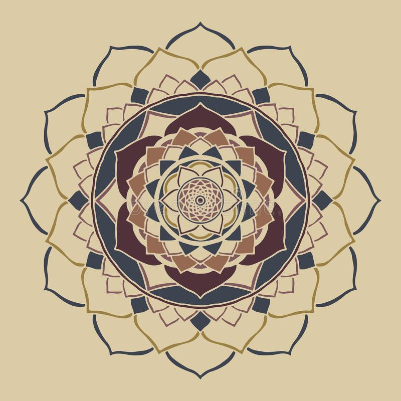 Ornement oriental de couleurs neutres chics de boho de mandala illustration de vecteur