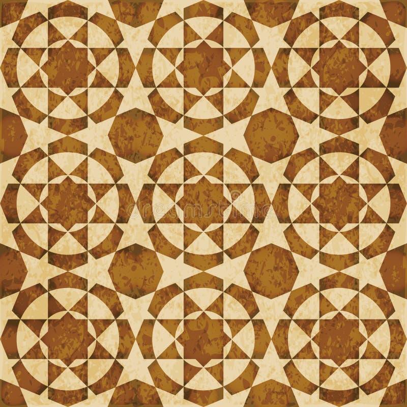 Ornement oriental de style de rétro de l'Islam de la géométrie fond sans couture brun de modèle illustration stock