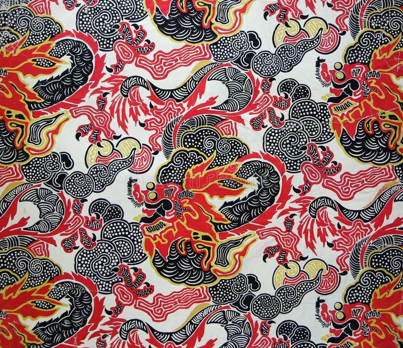 Ornement original de tissu de textile du style moderne Dragon rouge chinois photographie stock libre de droits