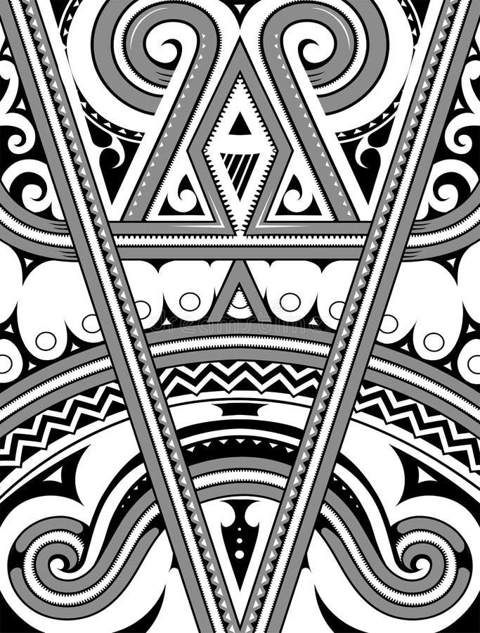 Ornement polynésien avec les éléments ethniques illustration de vecteur
