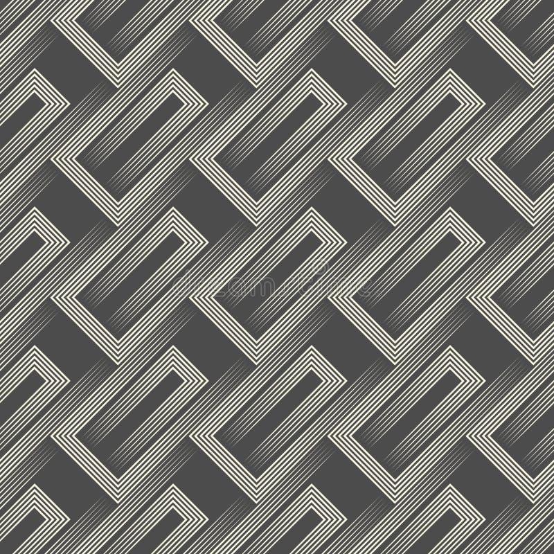 Ornement rayé diagonal abstrait Modèle minimal sans couture illustration stock