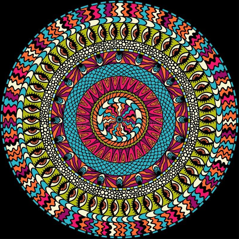 Ornement rond d'appartenance ethnique colorée, vecteur de mosaïque illustration stock