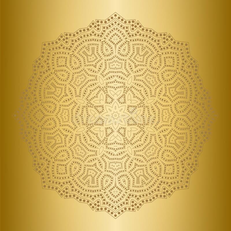 Ornement rond de dentelle d'appartenance ethnique Fond d'or Lumière, brillante, mandala de lueur dans le style ethnique illustration de vecteur