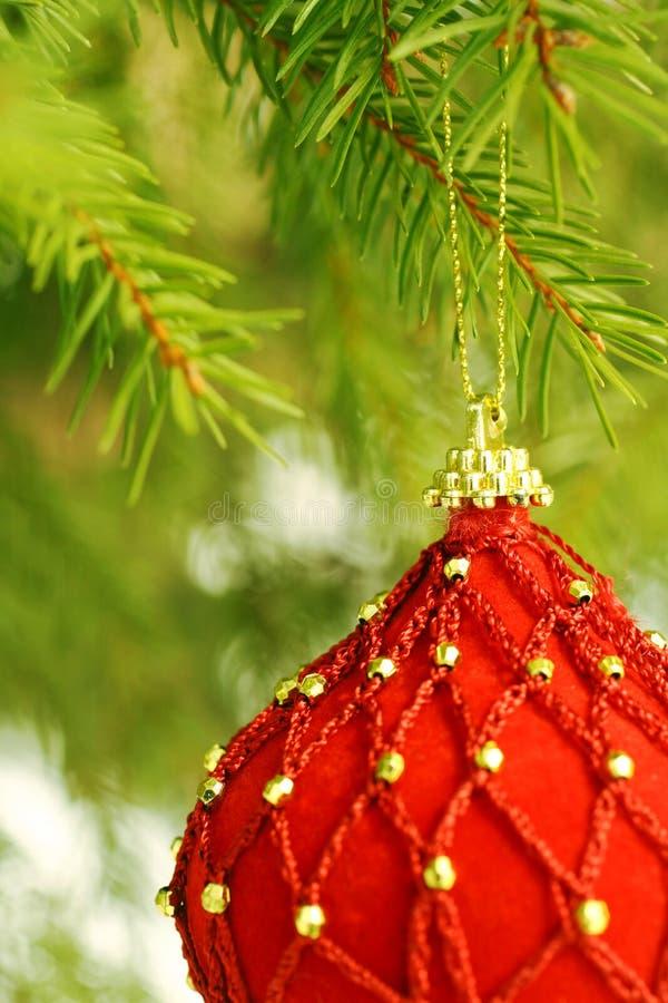 Ornement rouge d'arbre de Noël image stock