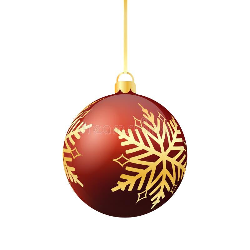 Ornement rouge de Noël avec le flocon de neige d'or photographie stock libre de droits