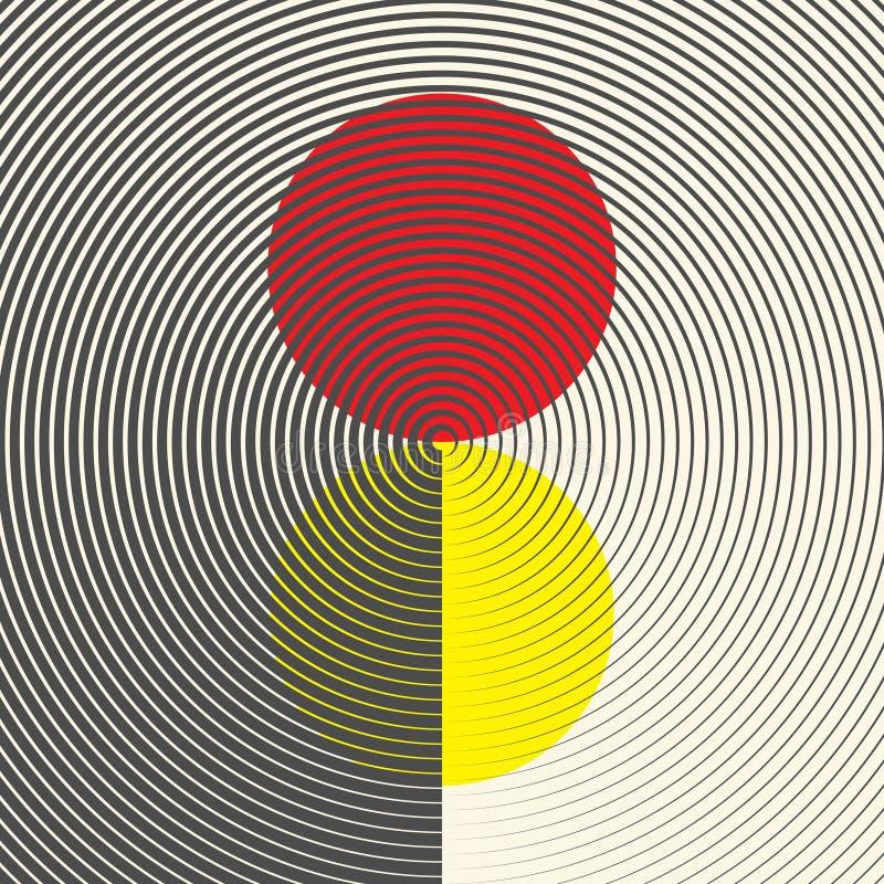 Ornement rouge et jaune circulaire conception graphique géométrique illustration de vecteur