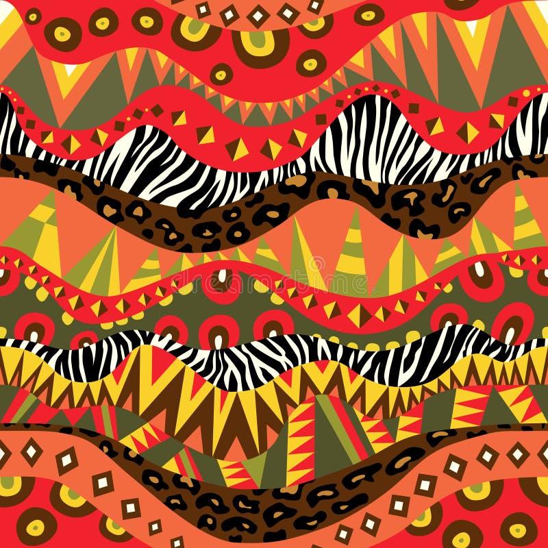 Ornement sans couture africain lumineux avec des peaux de zèbre et de léopard illustration libre de droits