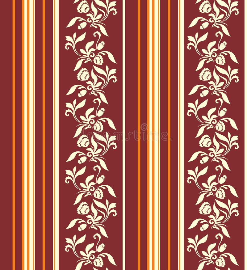 Ornement sans couture avec les rayures verticales et modèle floral dans des couleurs chaudes illustration libre de droits