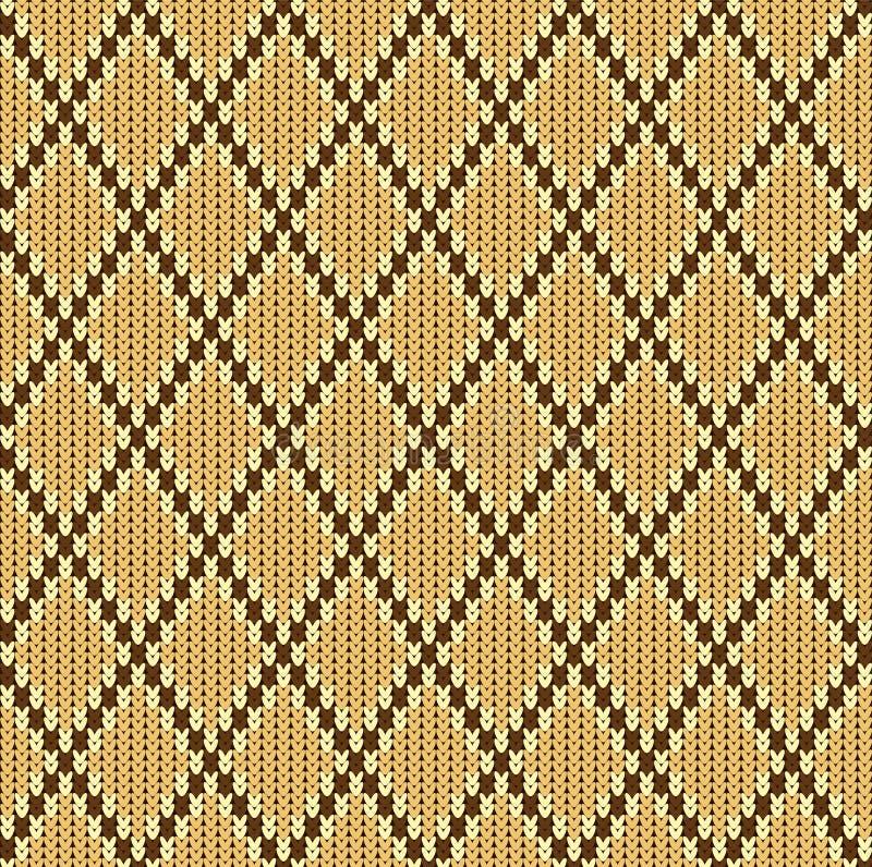 Ornement sans couture de laine de jacquard tricoté par hiver Modèle beige de jacquard illustration stock