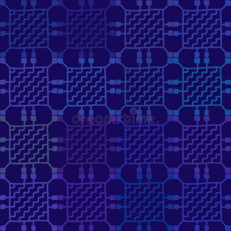 Ornement sans couture de modèle de la broderie folklorique russe, fond bleu de noir géométrique traditionnel d'ornement de mosaïq illustration de vecteur
