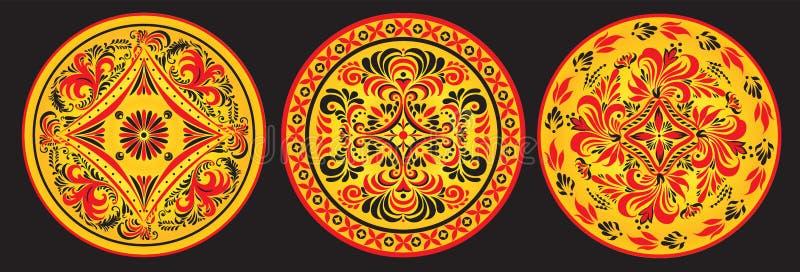 Ornement solaire traditionnel de Khokhloma illustration stock
