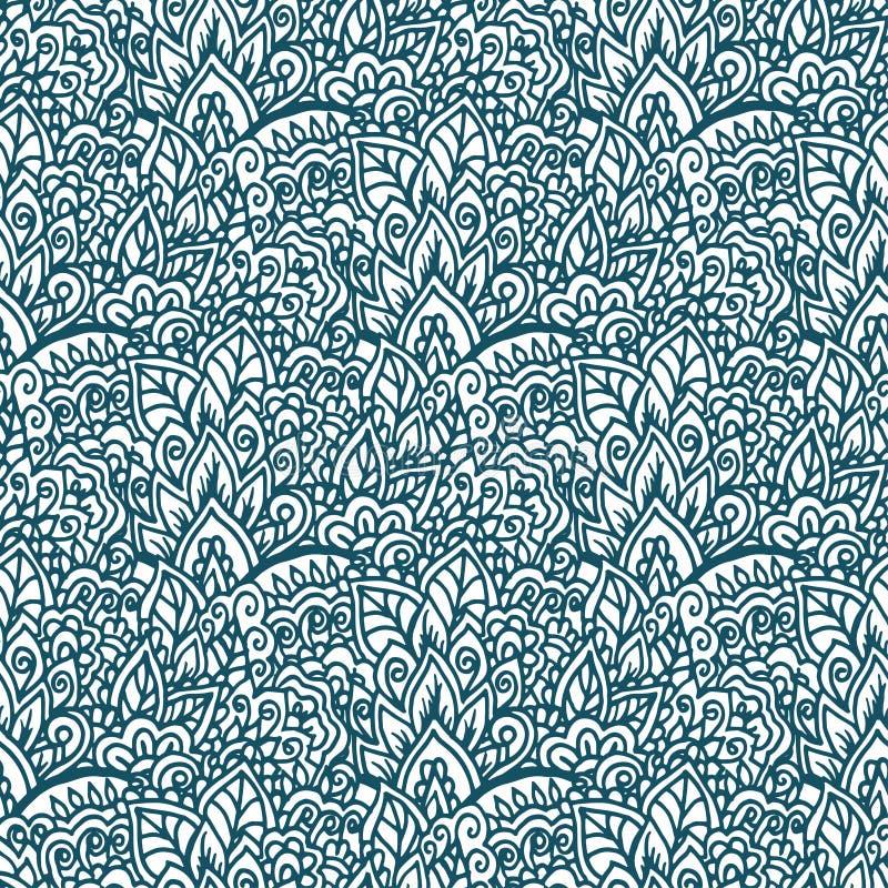 Ornement tiré par la main floral de griffonnage Fond sans couture illustration libre de droits