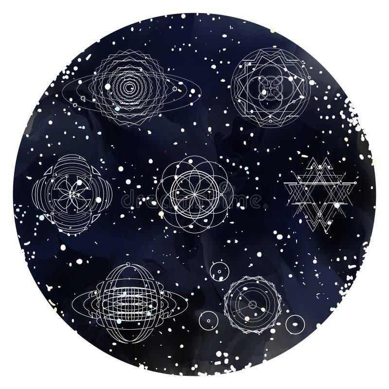Ornementez la carte avec le mandala sur le ciel étoilé d'aquarelle illustration stock